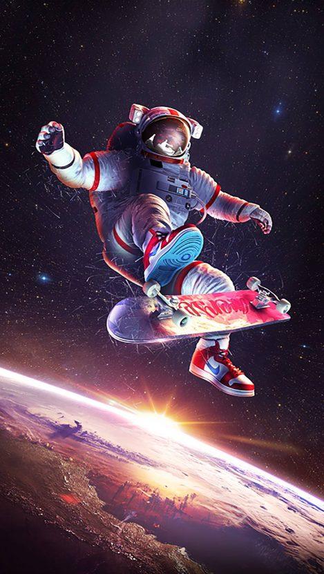 Skateboarding Astronaut iPhone Wallpaper Free GetintoPik