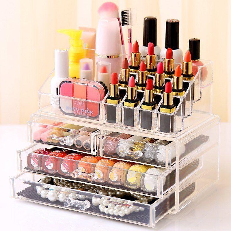 Au Holder Cosmetic Makeup Organizer 4 Drawer Storage Jewellery Box Clear Acrylic Makeup Storage Case Makeup Holder Clear Acrylic Makeup Organizer