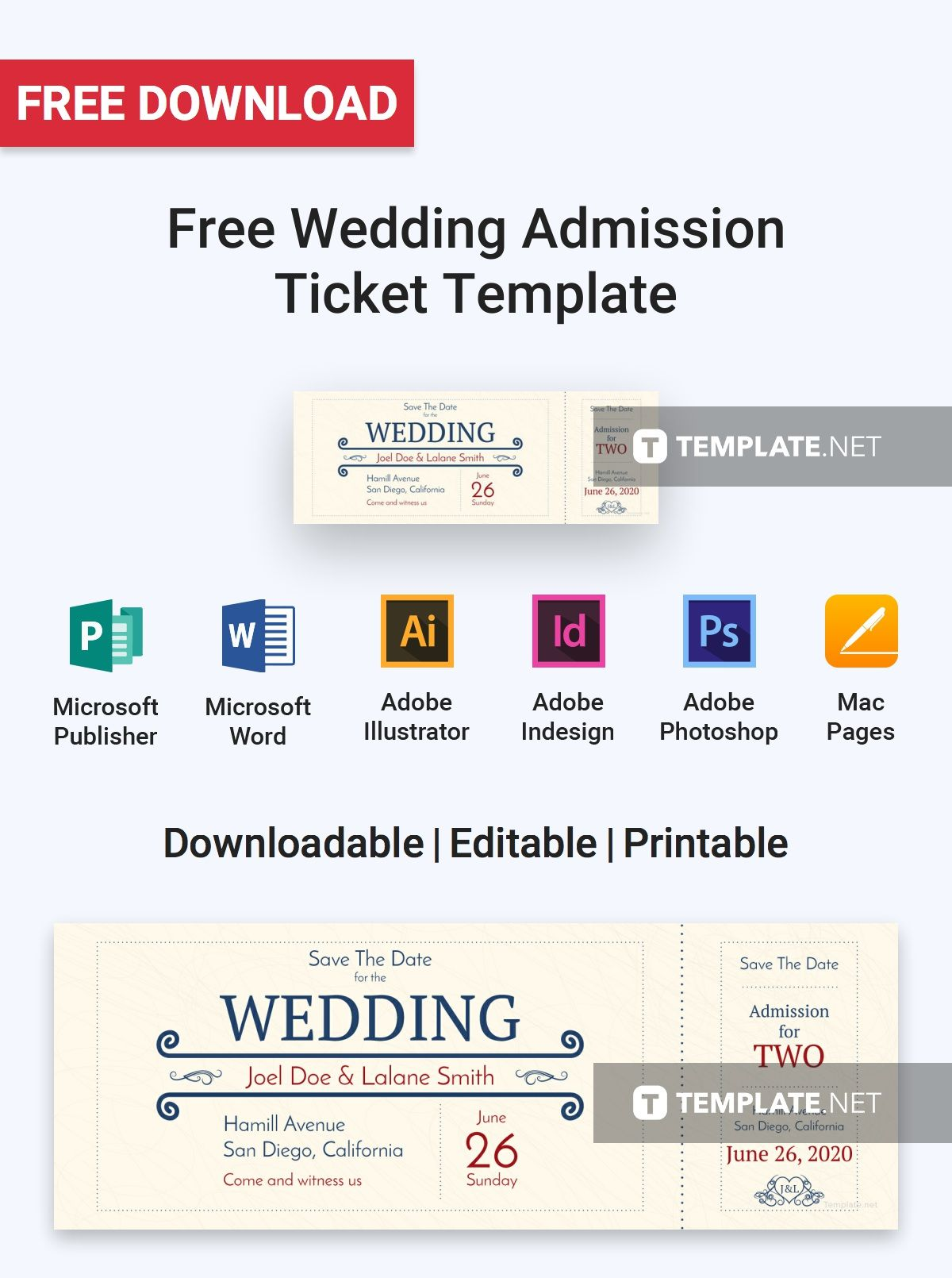 Free Wedding Admission Ticket Ticket Template Templates