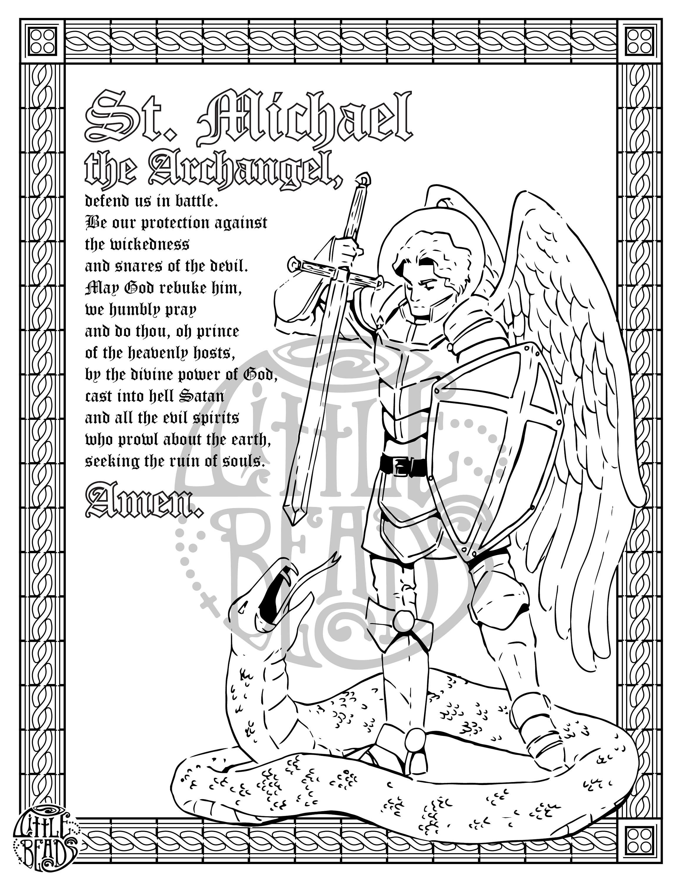 St Michael Printable Perfect For Coloring Coloring Pages Designs Coloring Books St Michael