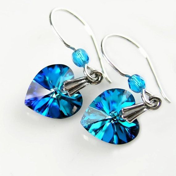Blue Crystal Hearts w stering silver Dangle earrings