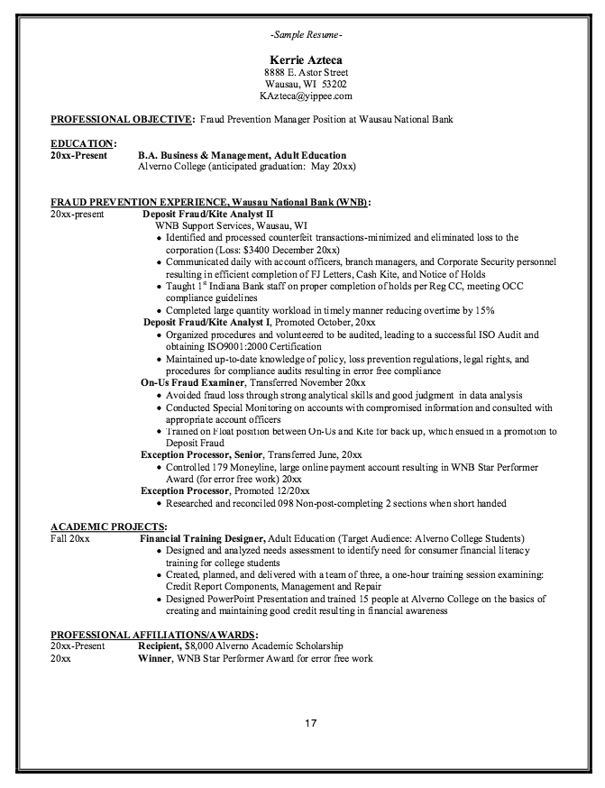 Fraud Prevention Manager Resume Example  HttpResumesdesignCom