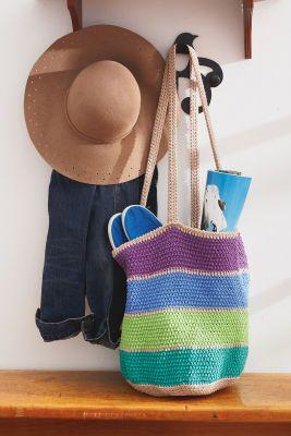 Bernat 174 Handicrafter 174 Cotton Striped Market Tote Bag