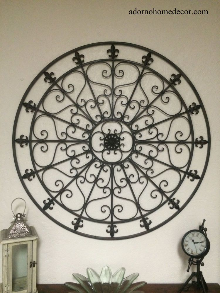 Large Round Wrought Iron Wall Decor Rustic Scroll Fleur De Lis