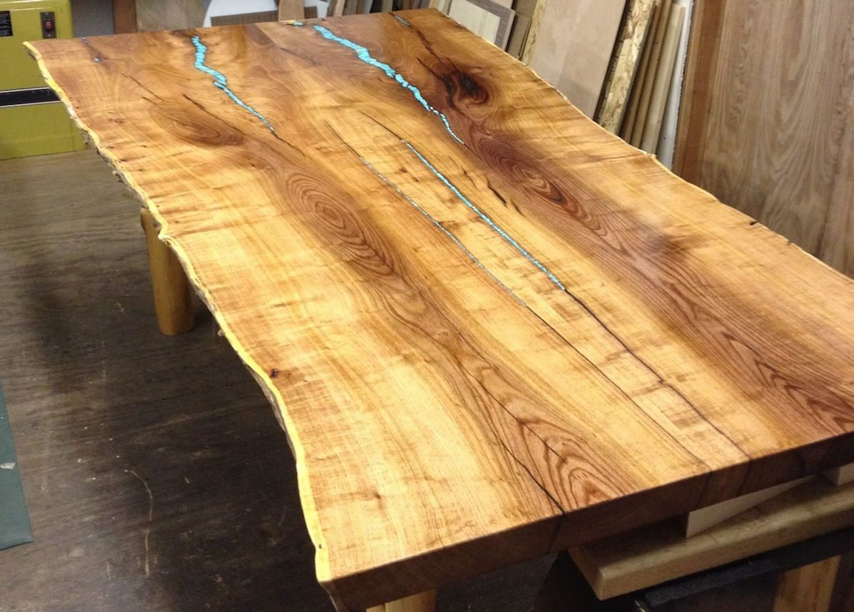 Turquoise inlay mesquite dining table by aaron smith woodworker book matched mesquite slabs with turquoise inlay turquoise is surfaced flat then fit into