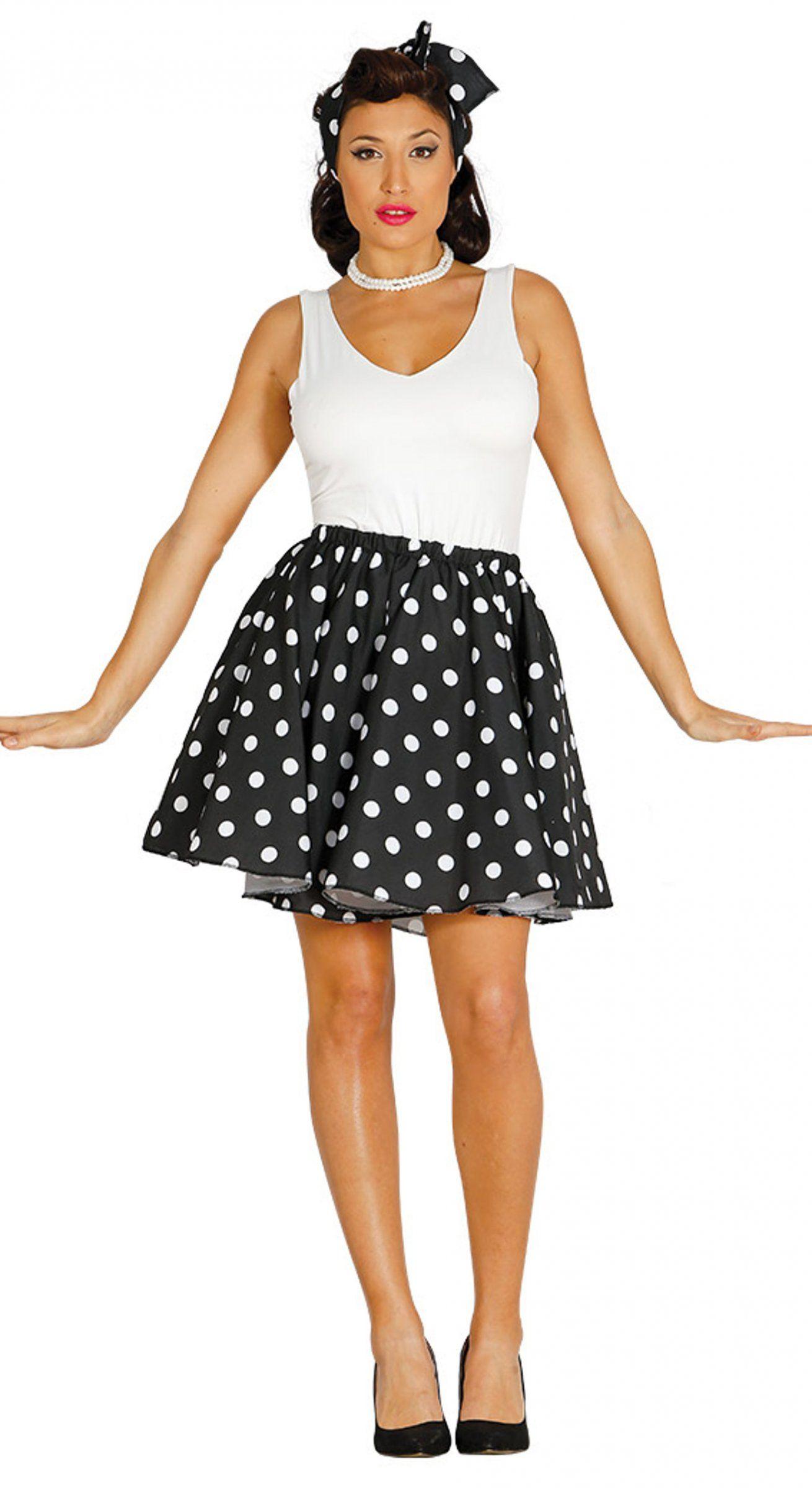 dedf8ecc50297 Falda con pañuelo negro puntos blancos años 50 mujer  Este disfraz de años  50 está