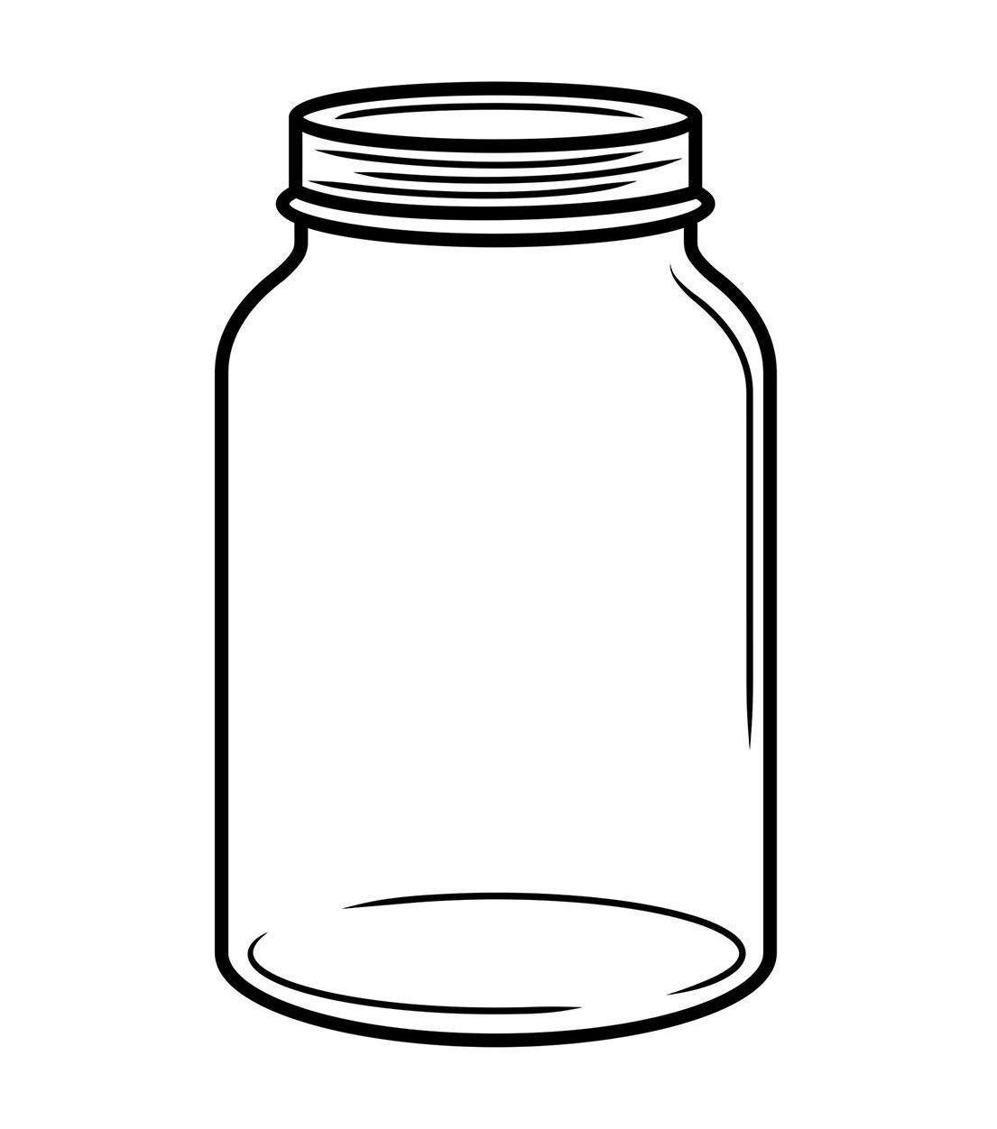 Mason Jar Outline Svg Drawing Printable Vector Jars