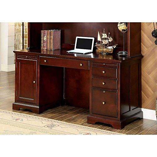 Home Office Hoxton Credenza Desk in Cherry Wood small office desk