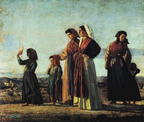 Cristiano Banti Il ritorno dalla messa Olio su tavola, 39 x 45 cm Collezione privata