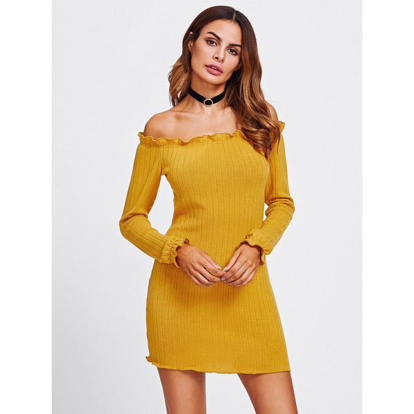 1e86178b04d0 SheIn(sheinside) Lettuce Edge Trim Bardot Knit Dress ($15) ❤ liked on Polyvore  featuring dresses, yellow, yellow off the shoulder dress, sexy long sleeve  ...