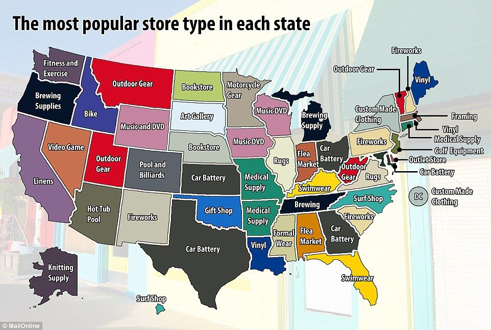A new map showing the types of retail stores that are most likely to appear in each US state has been released. Car battery shops were the most commonly found in five states, including Kansas, Georgia, Maryland, Ohio and Texas