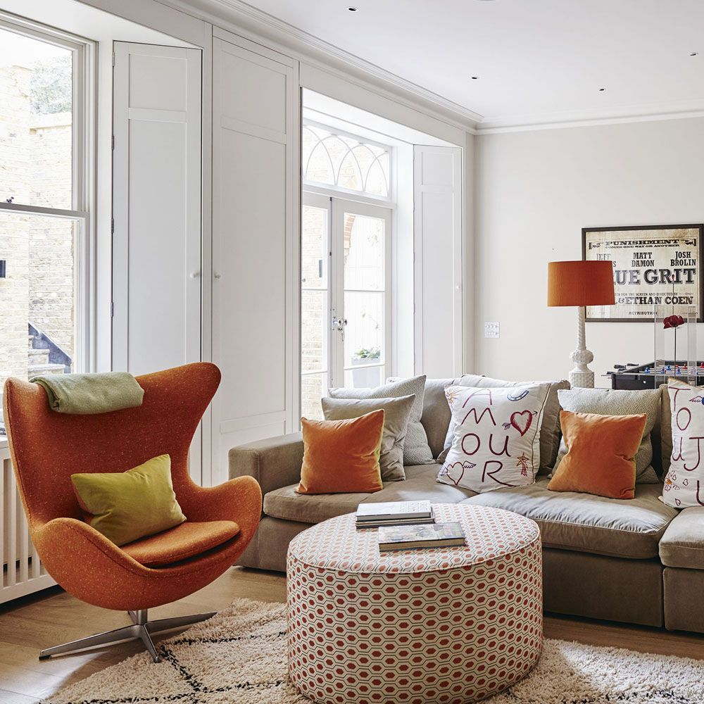 Warm Orange, Taupes and White Living Room. The warm colours and ...