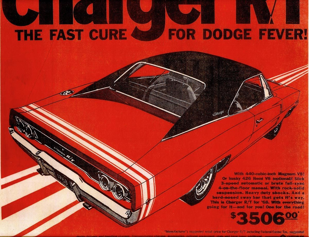 "1968 Dodge Charger Hot Rod Muscle Car Mini Poster 24/"" x 36/"""