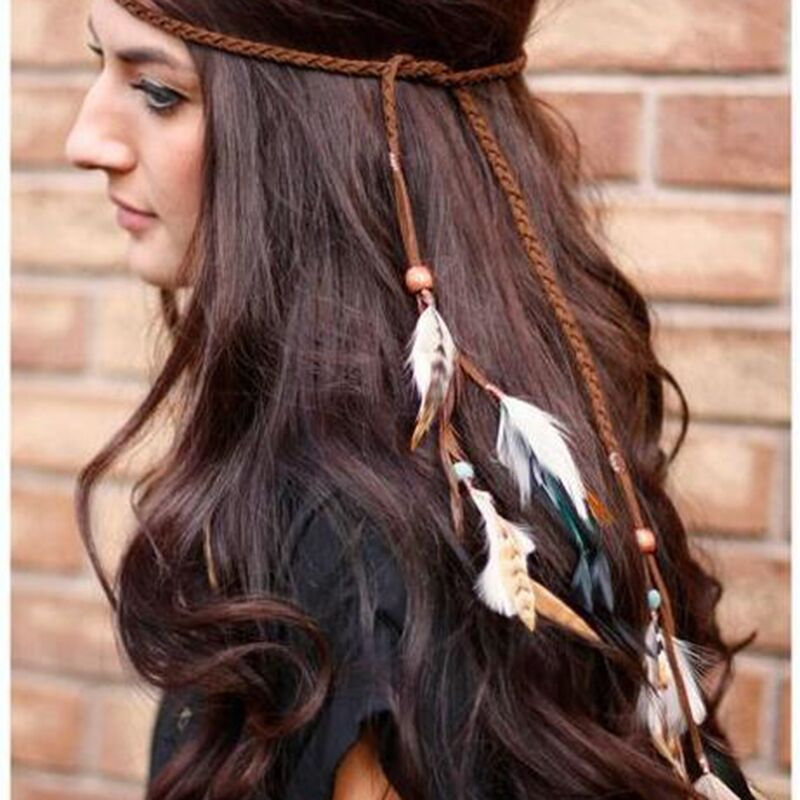 Exotic Boho Vacation Feather Leather Headband Hair Band Jewelry Long Native Indian Jewelryamerican