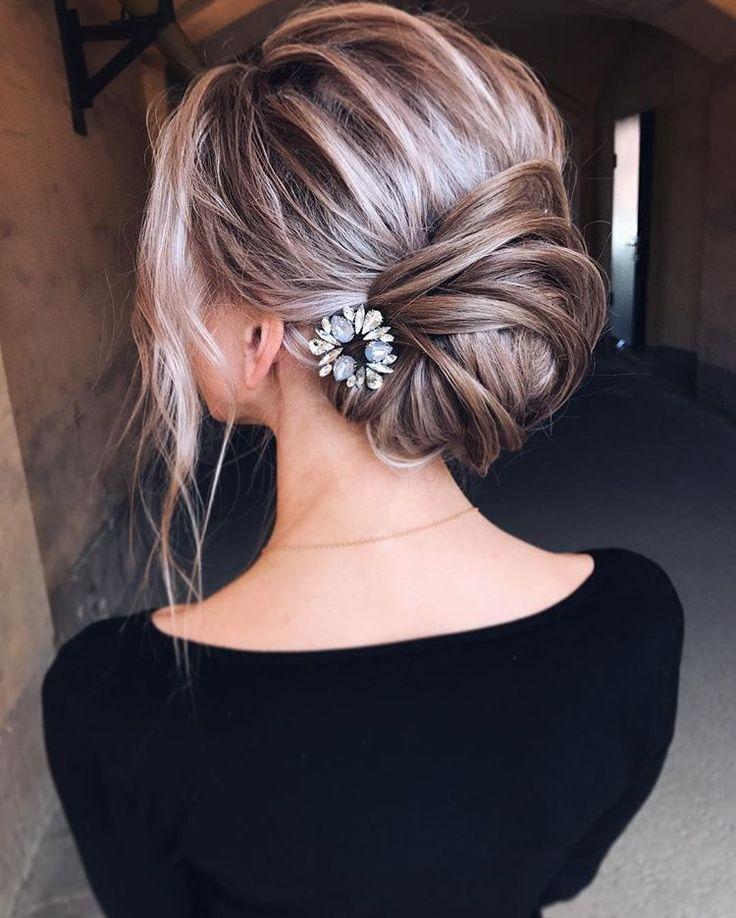 Bridal loose bun updo. Messy blonde ombre balayage. , Wedding hairstyles  via tonyastylist , Tonya Pushkareva