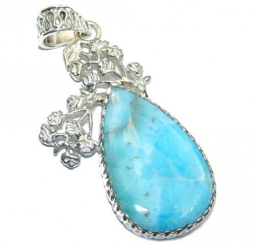 Genuine Blue Larimar Sterling Silver Pendant