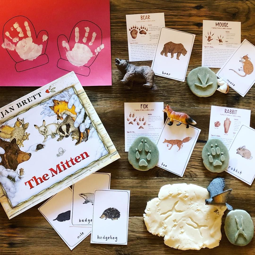 Uses The Mitten Along With Winter Animal Tracks