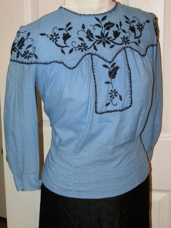 The Essential 1940s Style Blouse Vintage Frills: Vintage 1940s MEXICAN Embroidered BLOUSE By