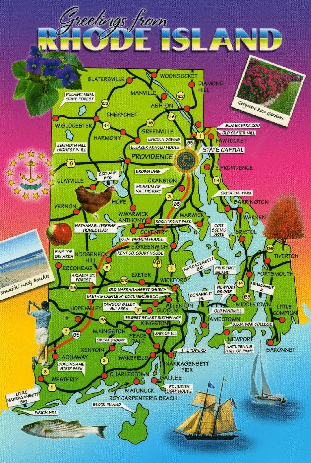Rhode Island Postcard Maps Rhode ISLAND Pinterest Rhode - Map of rhode island