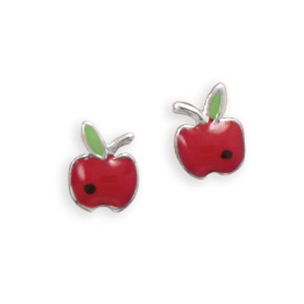 Tiny Rhodium Plated Red Epoxy Apple Earrings (€14) ❤ liked on Polyvore featuring jewelry, earrings, red jewelry, red jewellery, rhodium plated jewelry, red earrings and rhodium plated earrings