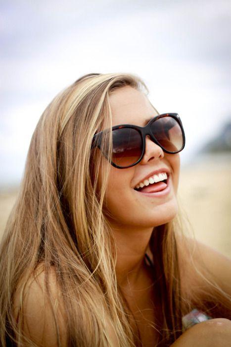blonder hair, darker skin, tan lines, sunglasses. summer ...