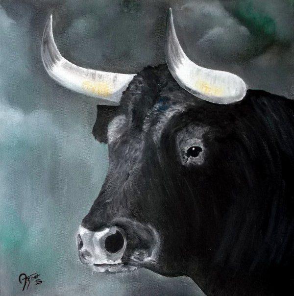 T te de taureau camarguais peinture taureau peinture et tete de taureau - Dessin tete taureau ...