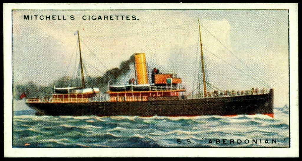 Vintage Art Original Print ROYAL MAIL STEAM SHIP ASIA