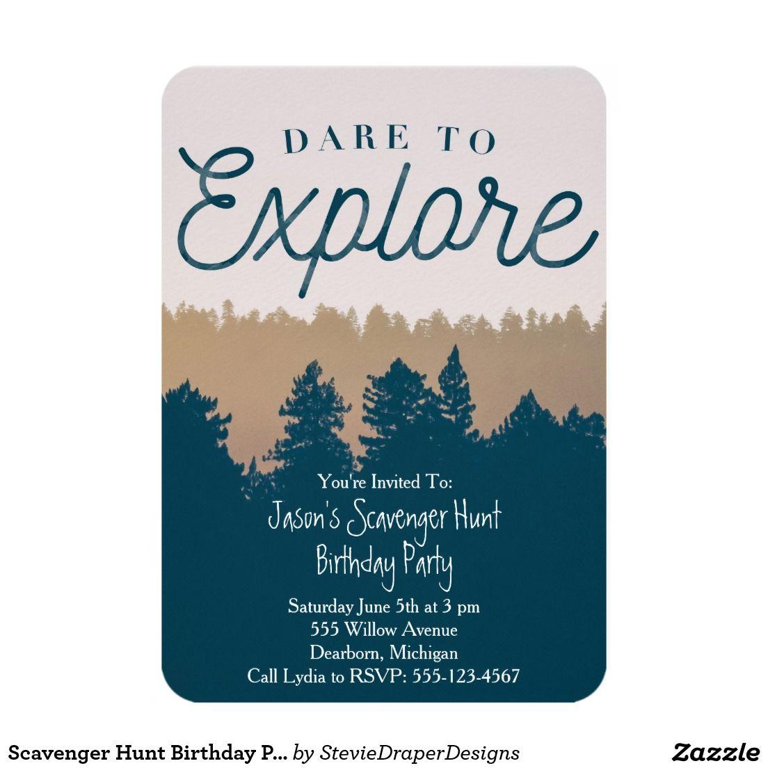 Scavenger Hunt Birthday Party Invitation for Boys Zazzle
