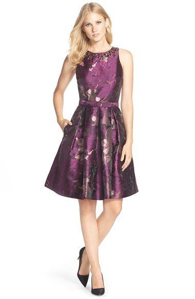 Eliza J Embellished Neck Jacquard Fit Flare Dress