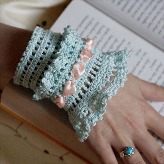 Crochet Layered Lace Cuff - PDF PATTERN | Guantes, Pulseras y Tejido