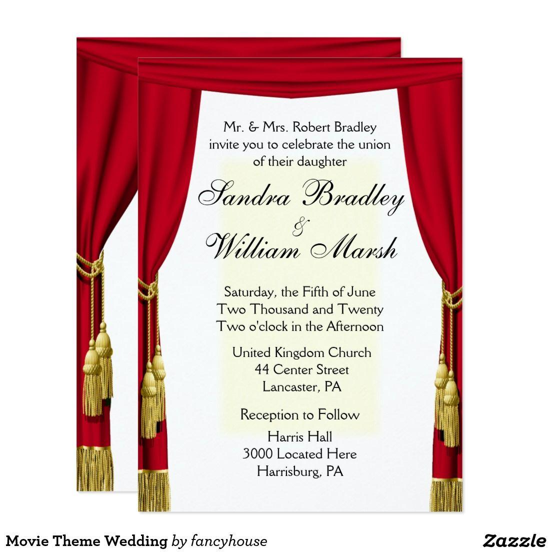 Movie Theme Wedding Invitation   Movie theme weddings