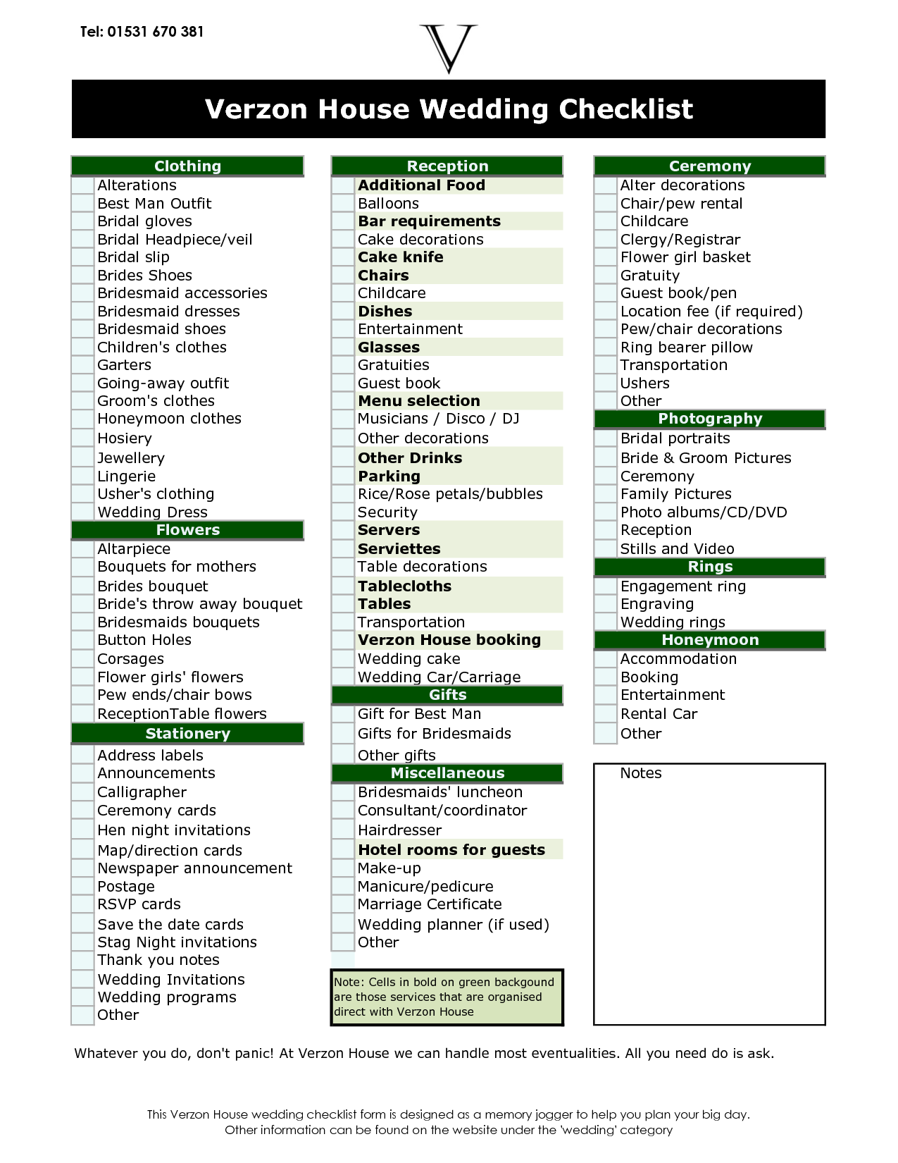 Wedding Ceremony Checklist