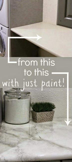 Amazing Tutorial Paint Your Own Faux Marble Countertops