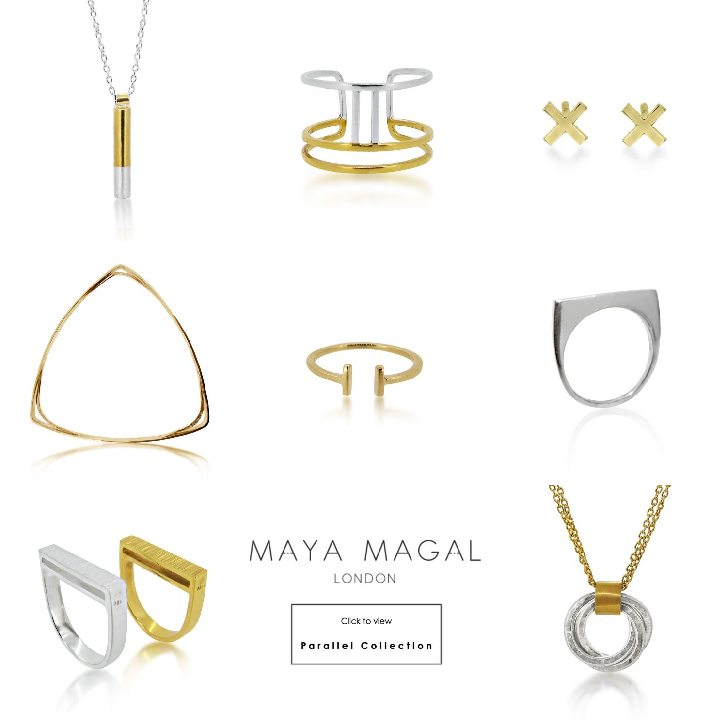 8e12a6a7c Maya Magal latest collection Parallel. AW15 collection. London based  jeweller. Stacking Rings. Silver and Gold. Kisses.