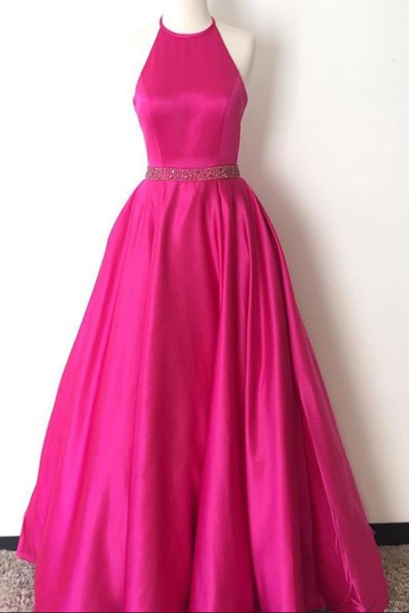 Prom Dress,Halter Prom Dress,Hot Pink Satin Evening Dress,Long ...