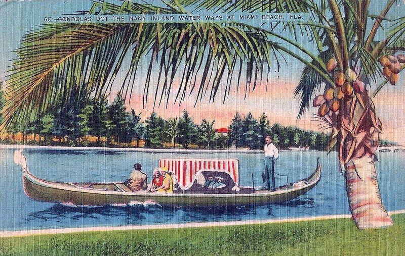 Vintage Postcard Gondola On An Inland Water Way At Miami Beach Florida Circa 1938