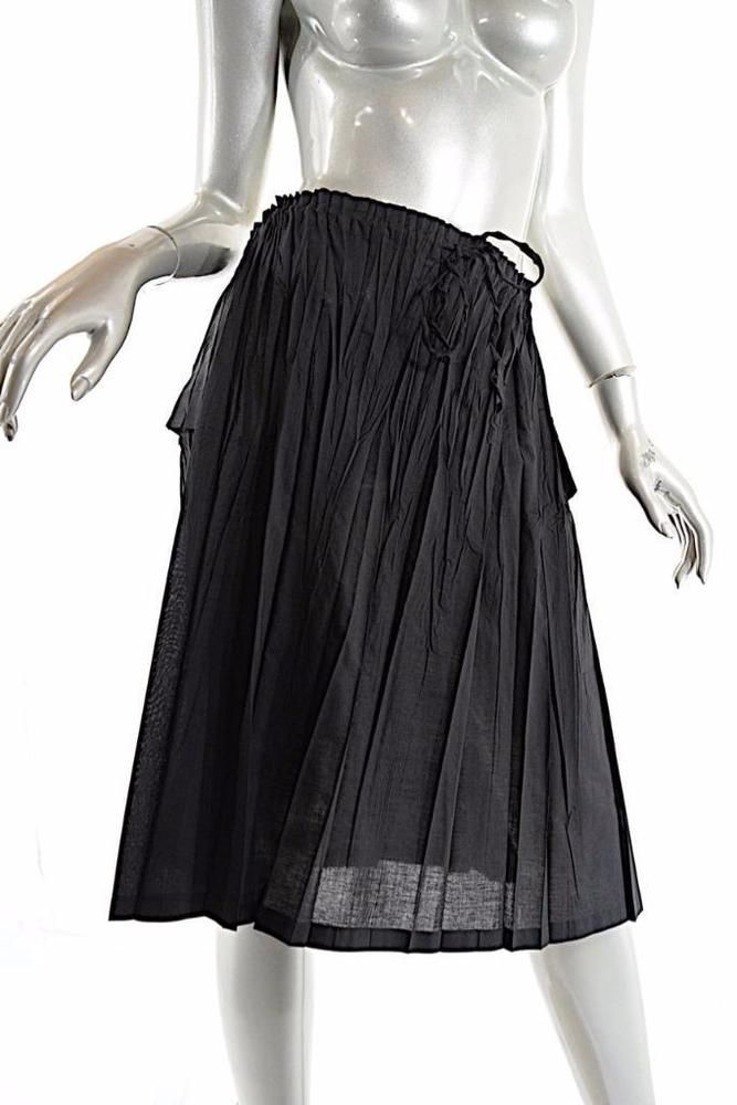 8f1700482 PLEATS PLEASE Black Poly/Cotton Blend Crinkled Pleat Skirt w/Drawstring - Sz  3 #PleatsPlease #CrinkledPleated