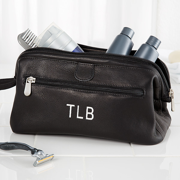Personalized Toiletry Bag Black Leather | Toiletry bag