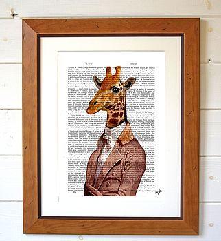 Regency Giraffe, Dictionary Print - www.notonthehighstreet.com