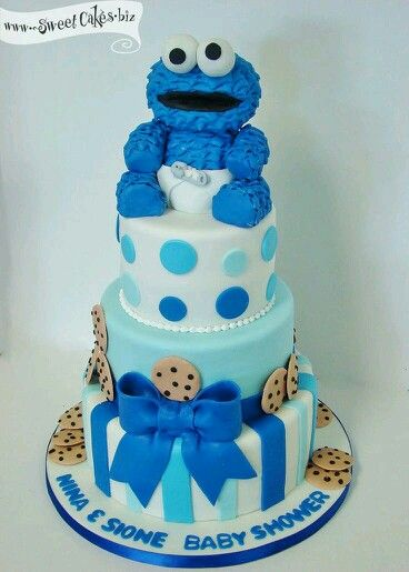 Baby Cookie Monster Baby Shower Cake, Would Make A Cute Birthday Cake 2