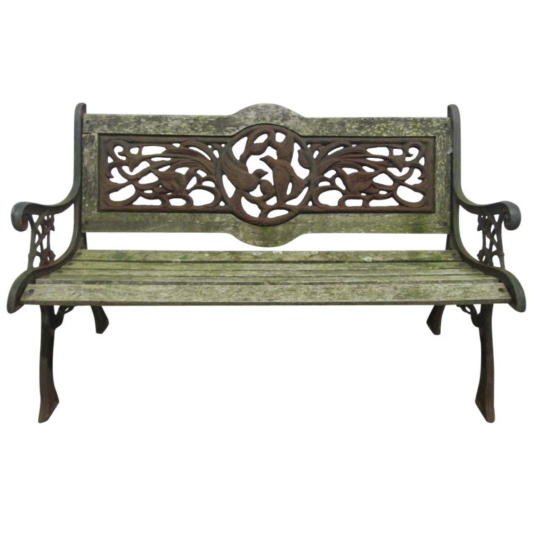 Great Vintage Wrought Iron Garden Bench