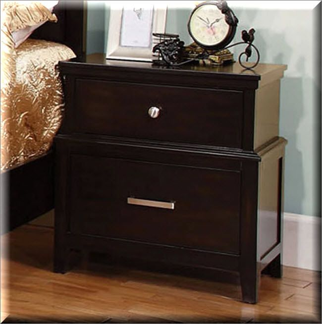 2 drawer nightstand wood bedside table dark espresso storage organizer furniture