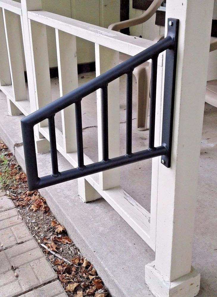 Wrought Iron Metal 1 2 Step Handrail Custom Made Home Decor Black | 2 Step Outdoor Stairs | Outdoor | Wooden | Free Standing | Cascading | Multi Colored
