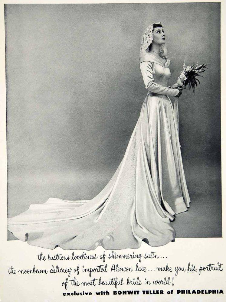 1949 Ad Vintage Satin Wedding Dress Lace Train Veil Bride Bonwit ...