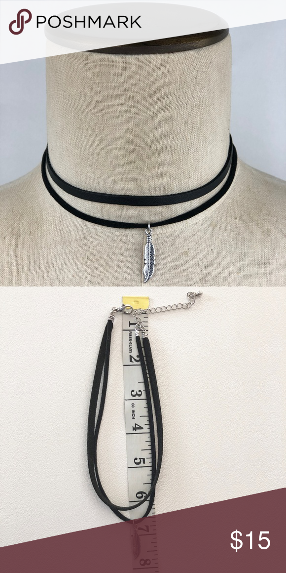 Boho Feather Leather Choker Necklace Boho Feather Leather Choker  Festival Costume Courtney Alexis Jewelry Necklaces