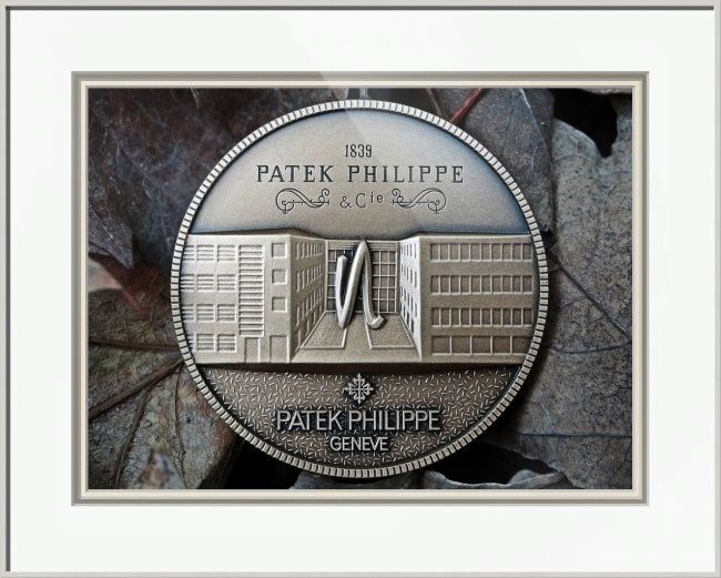 """Patek Philippe Geneve Commemorative Medal Coin // Paper: enhanced matte; Glazing: acrylic; Moulding: silver, frosted silver arthaus; Top Mat: white/cream, digital white; Middle Mat: black/gray, dover gray; Bottom Mat: white/cream, blackcore snowflake // Price starts at $149 (Petite: 16.75"""" x 19.75""""). // Customize at http://www.imagekind.com/Patek-Philippe-Geneve-PPG_art?IMID=8a85802b-eeec-4645-9012-f6a2af3151ab"""