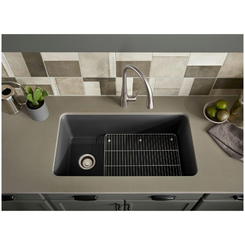 Kohler K 8206 Cm5 Cairn 33 1 2 Undermount Build Com In 2021 Composite Kitchen Sinks Single Bowl Kitchen Sink Sink Rack