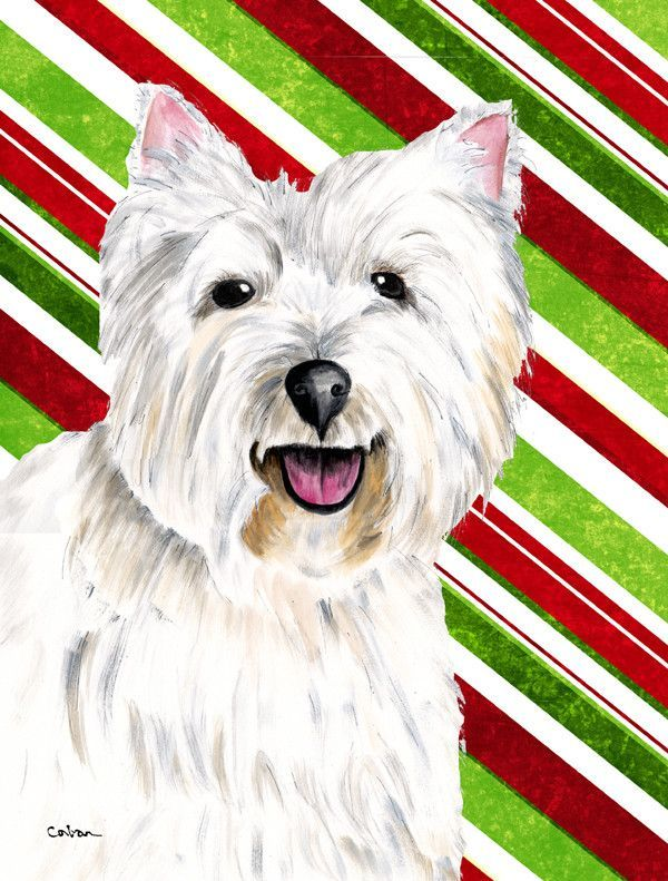 Westie Candy Cane Holiday Christmas Flag Canvas House Size