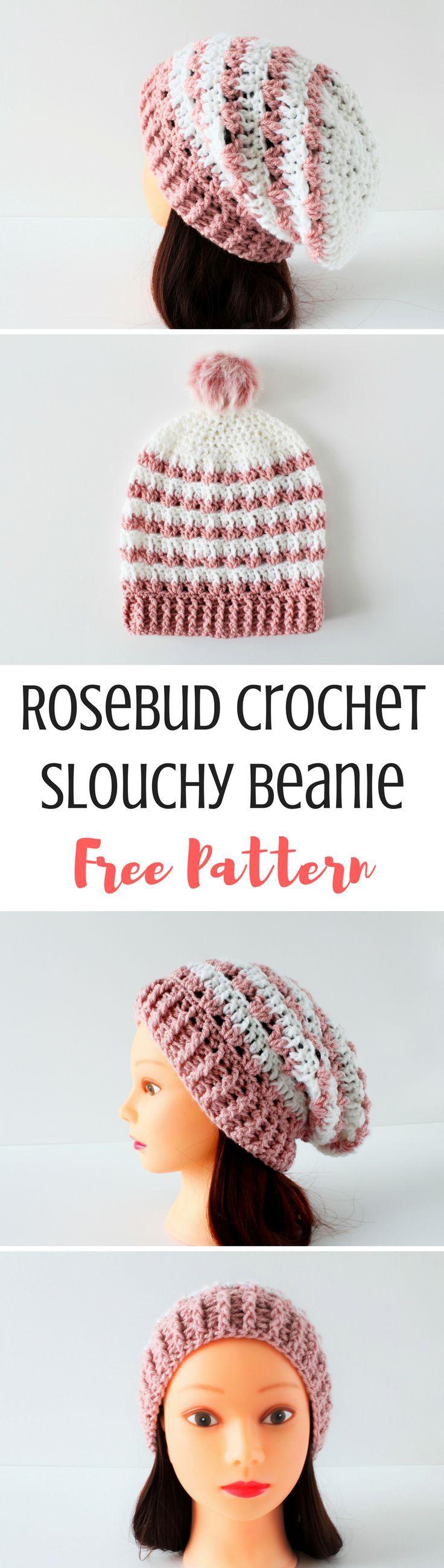 Rosebud: Crochet Slouchy Beanie Pattern en 2018 | Pretty Crochet ...
