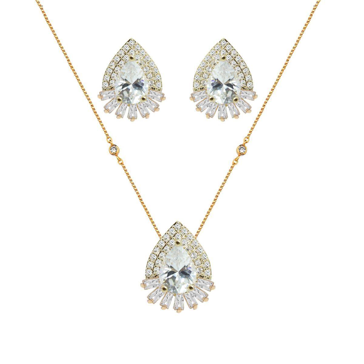 Conjuto de colar e brinco gota com cristais baguete, zircônias e cristais,  com dois fa63c9f041